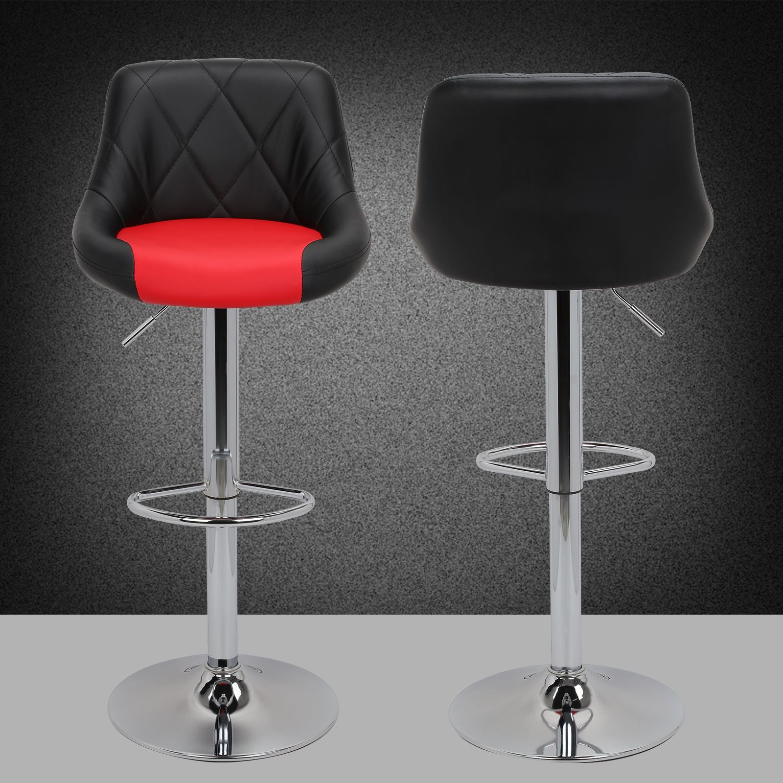 2pc Modern Counter Stools Pub Bar Stools with Backs Kitchen Stools Silver Red White Black