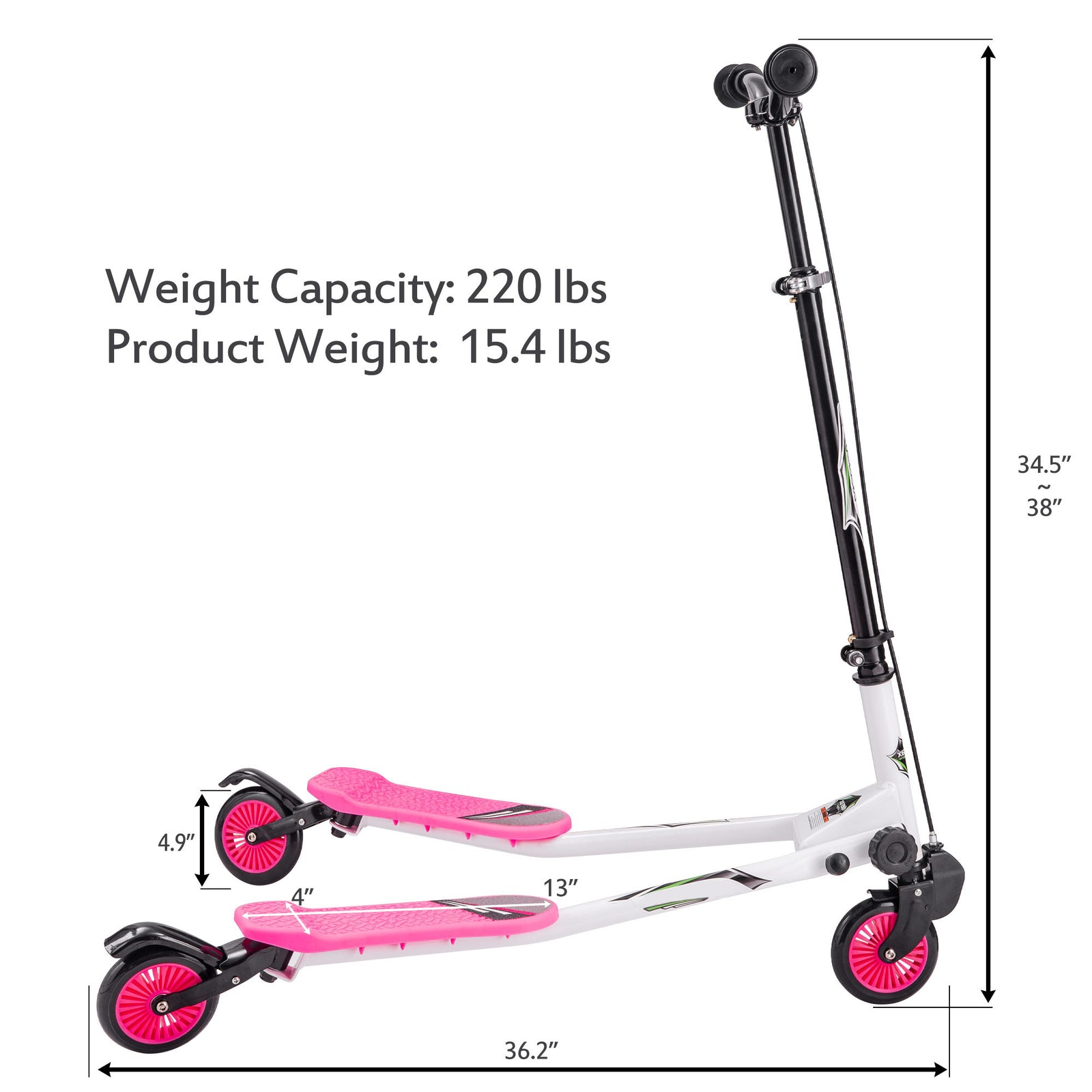 Hot Pink Foldable Kids Swing Scooter Push Drifting with Adjustable Handle for Kids Age 3+ Pink BH019536