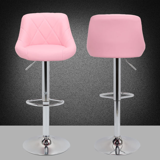 2pc Modern Counter Stools Pub Bar Stools with Backs Kitchen Stools - Pink