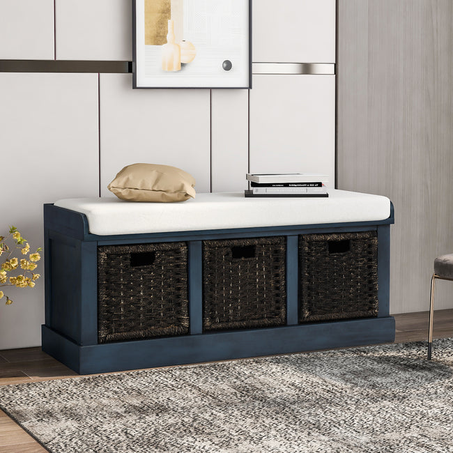 Dark Slate Gray Rustic Storage Bench with 3 Removable Classic Fabric Basket + Removable Cushion BH193443