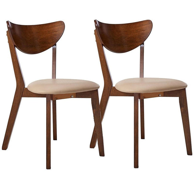 Mid-Century Chestnut Dining Side Chairs With Curved Back Cushion - 2 Count