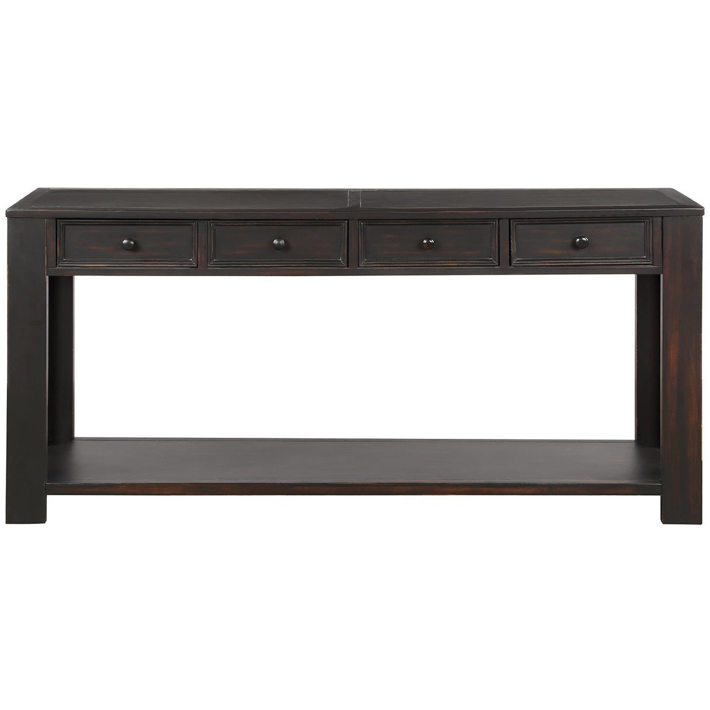 Dark Slate Gray Rectangular Console Table for Entryway Hallway Sofa Table with Storage Drawers and Bottom Shelf BH189615