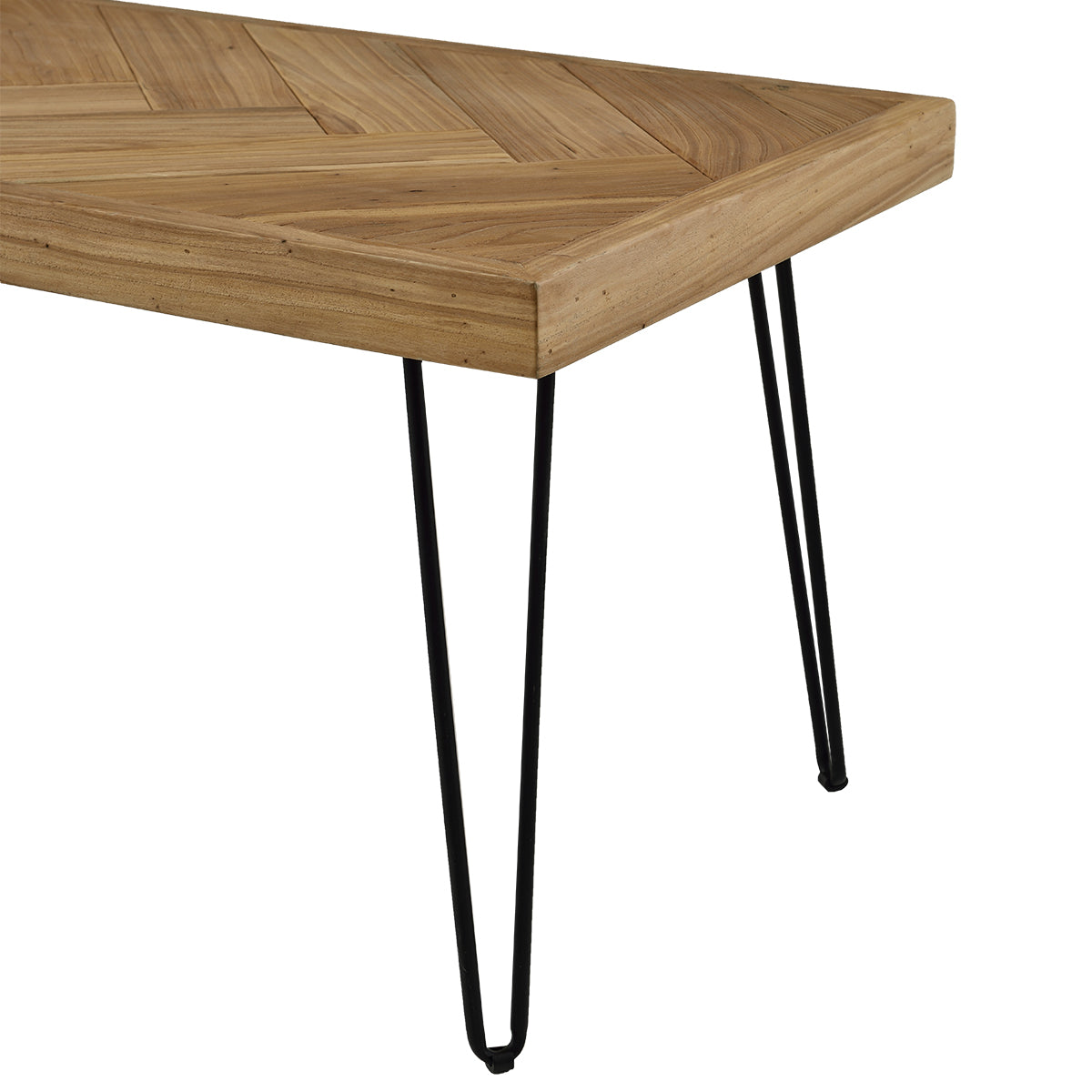 Black Coffee Table w/Chevron Pattern & Metal Hairpin Legs Glossy Finished Wood BH190111