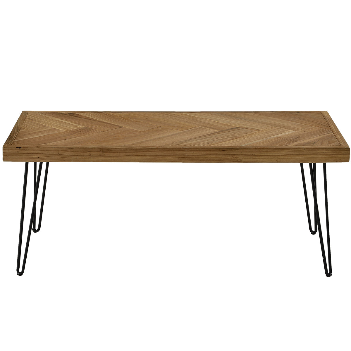 Sienna Coffee Table w/Chevron Pattern & Metal Hairpin Legs Glossy Finished Wood BH190111
