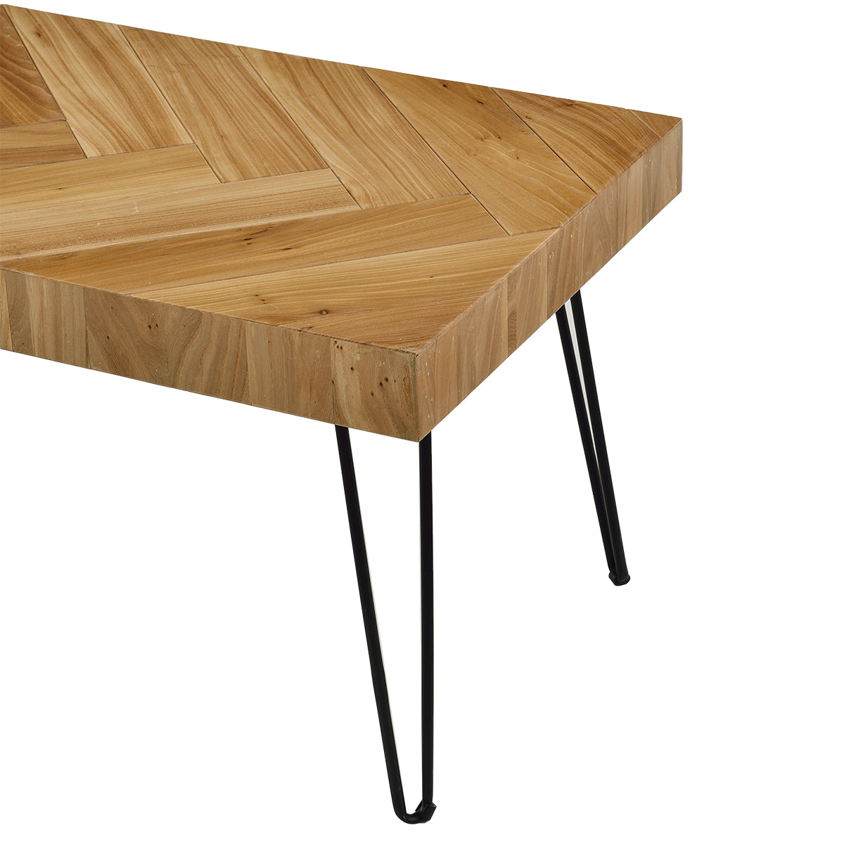 Dark Khaki Coffee Table w/Chevron Pattern & Metal Hairpin Legs Glossy Finished Wood BH190111