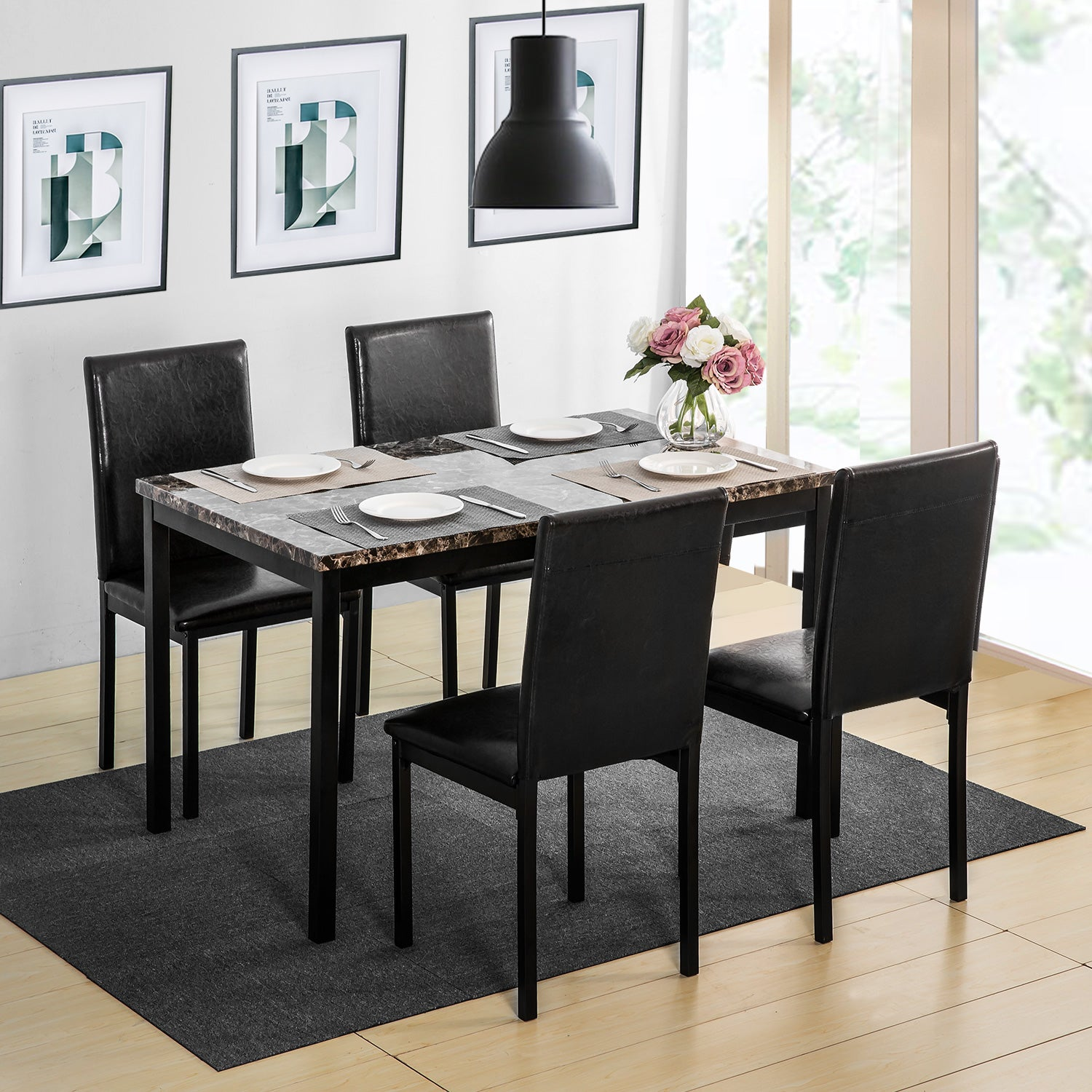 5 Counts - Dining Set Kitchen Table Set Dining Table and 4 Leather Chairs