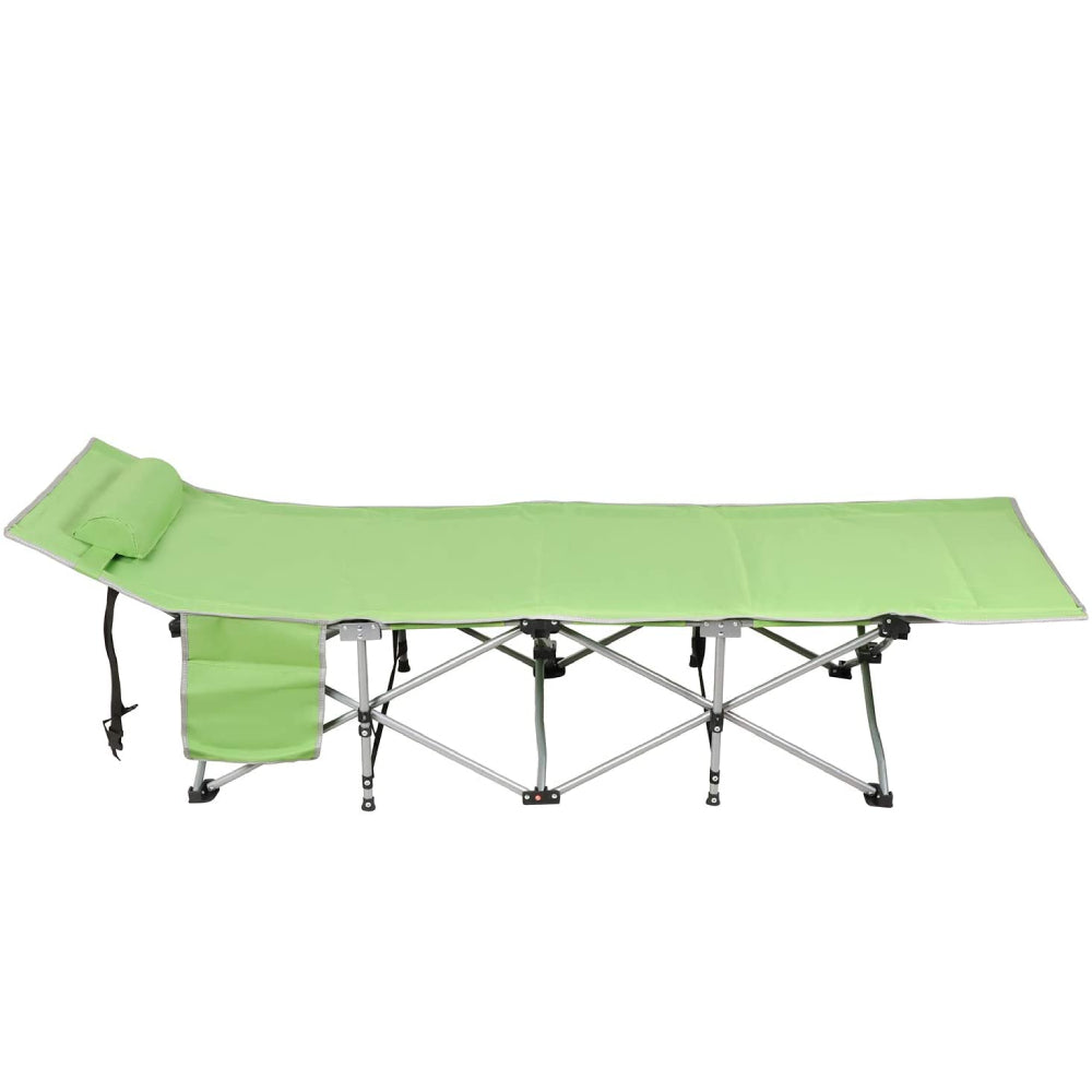 Dark Sea Green Folding Sleeping Camping Cot 450 lbs Max, Bed w/Pillow and Side Pocket Portable Design Comfort Small Collapsing Sleeping Bed- Outdoor Traveling Picnic for Adults