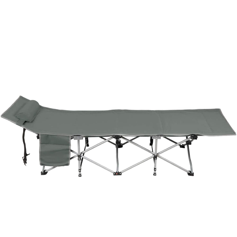Dim Gray Folding Sleeping Camping Cot 450 lbs Max, Bed w/Pillow and Side Pocket Portable Design Comfort Small Collapsing Sleeping Bed- Outdoor Traveling Picnic for Adults