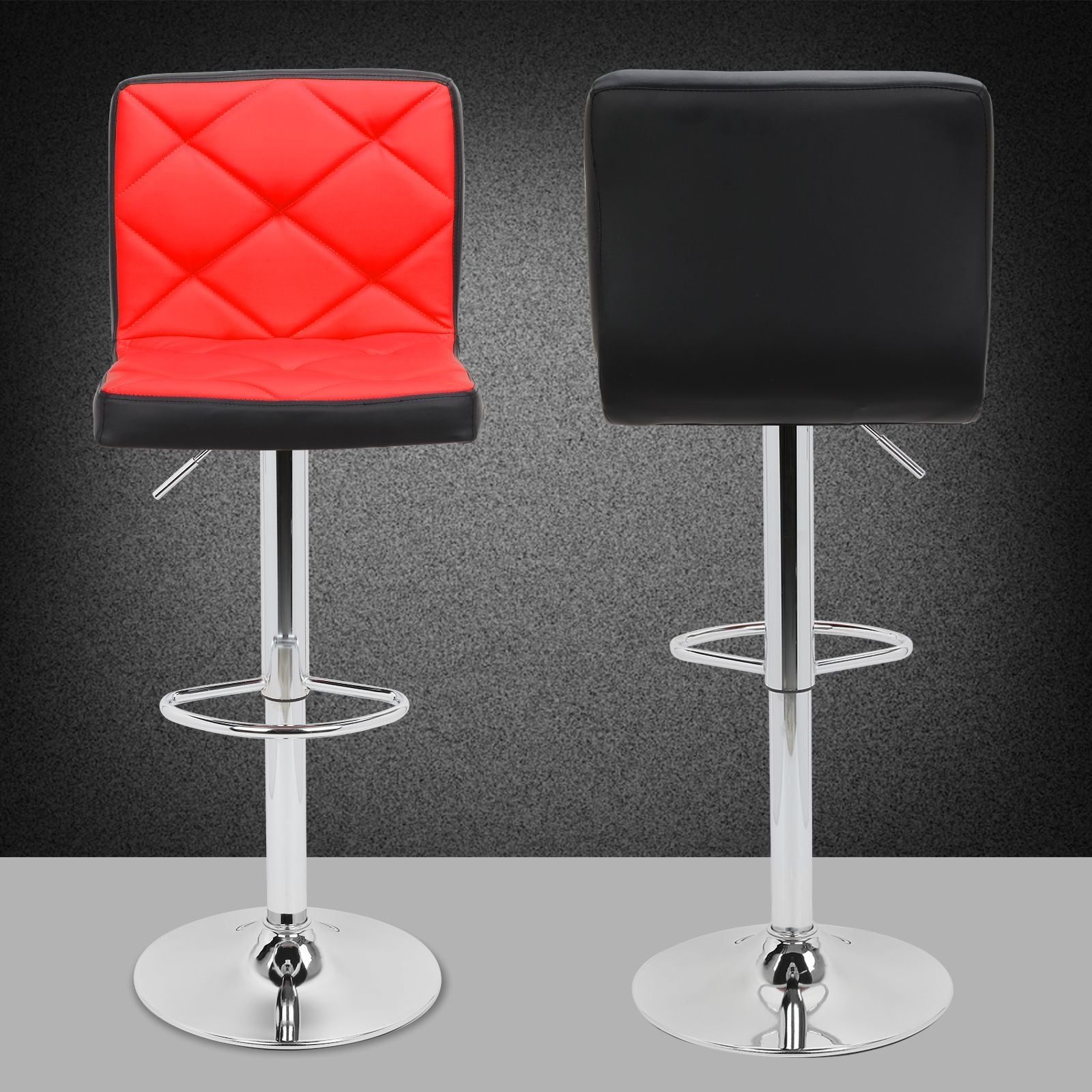 2pc Deluxe Mixed Color Leather Swivel Pub Bar Stools Counter Stools Kitchen Stools with Backs - Red