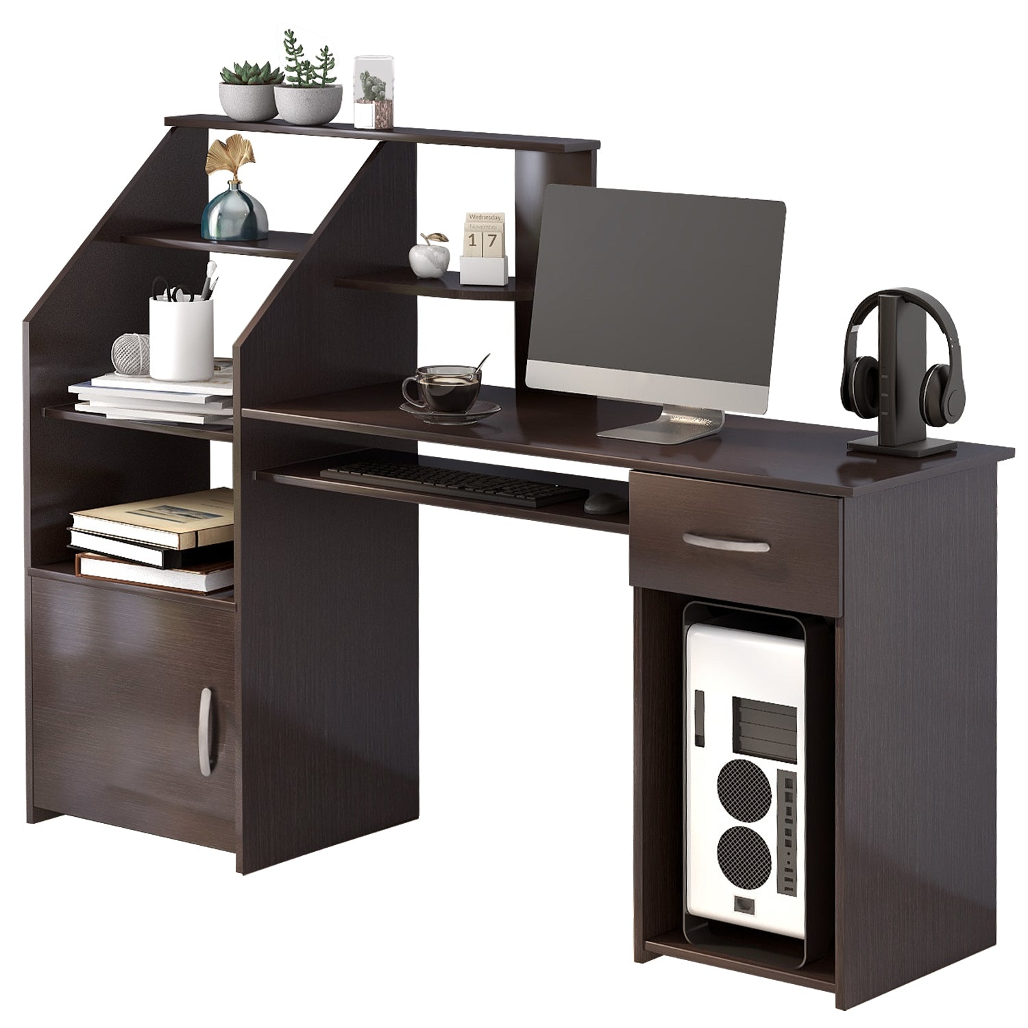 Dark Slate Gray Multi-Functions Computer Desk with Cabinet Espresso BH186907