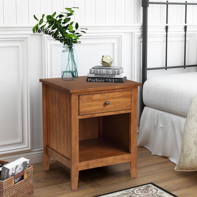 1 Drawer Nightstand With Storage Shelf Solid Wood Bedroom BH193007