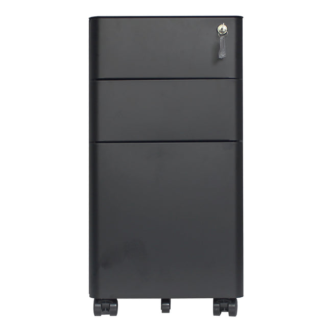 3 Drawers Rounded Edge Mobile Pedestal File Cabinet BH25218698