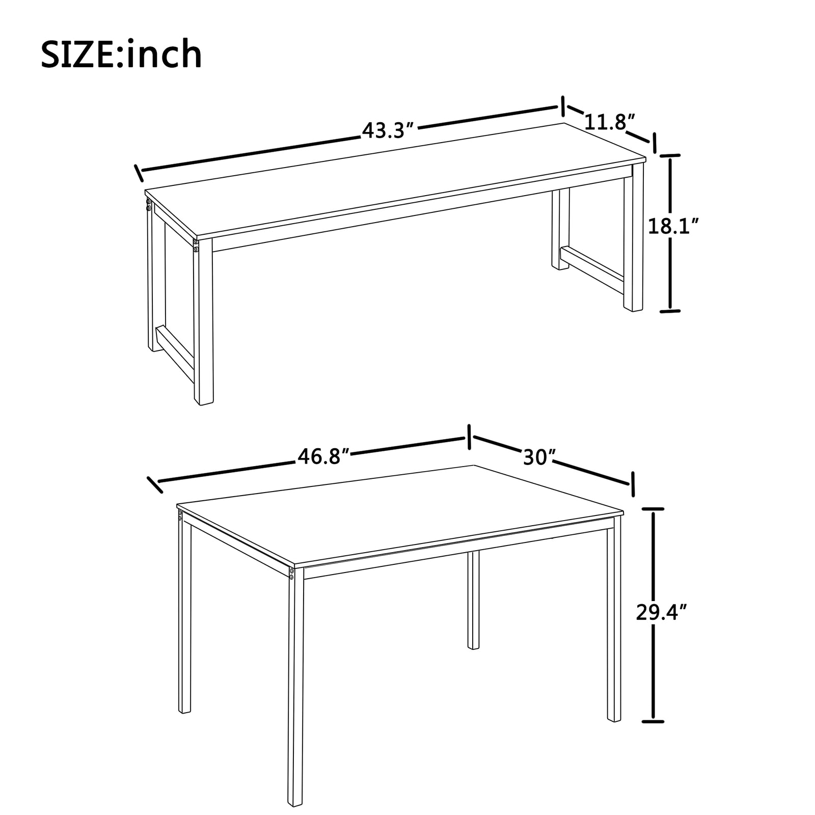 3 Counts - Dining Set with Two benches, Modern Dining Room Furniture - Size