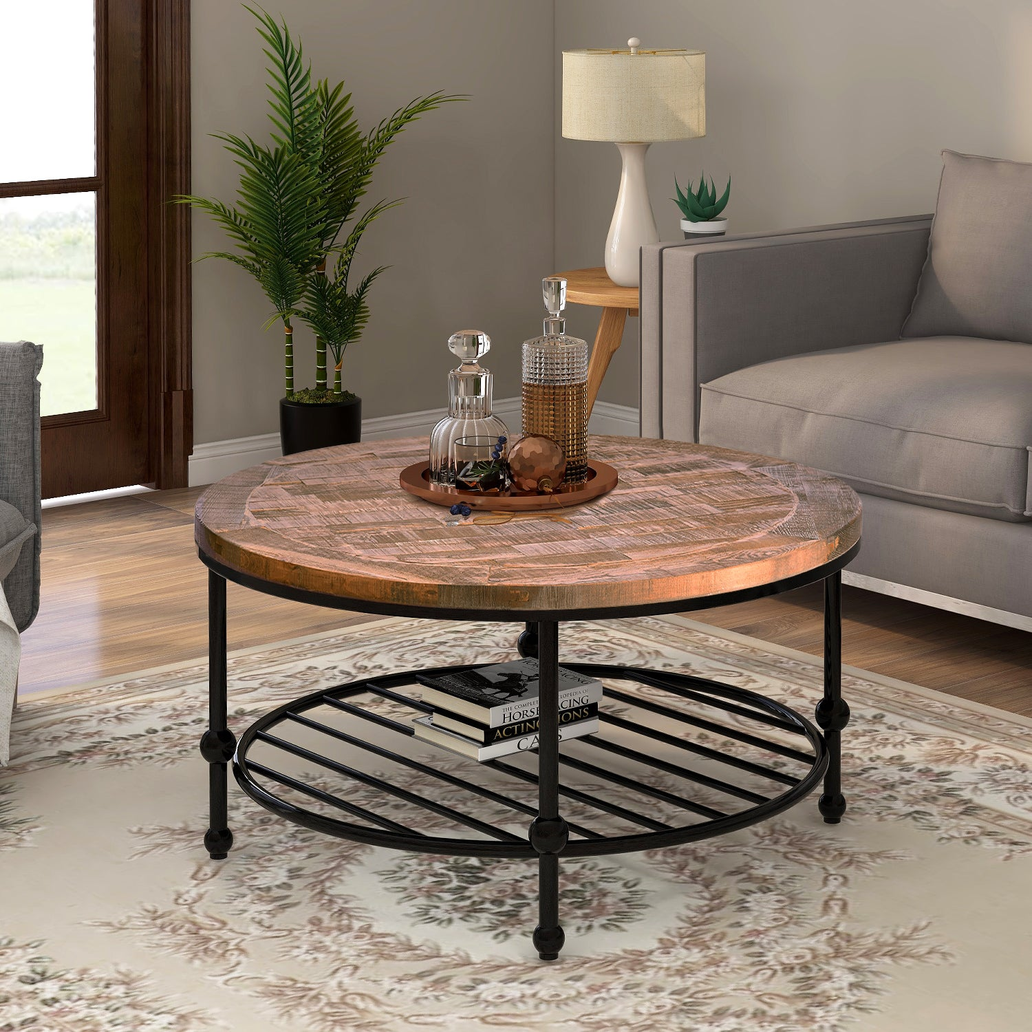Rustic Natural Round Coffee Table with Storage Shelf for Living Room Easy Assembly