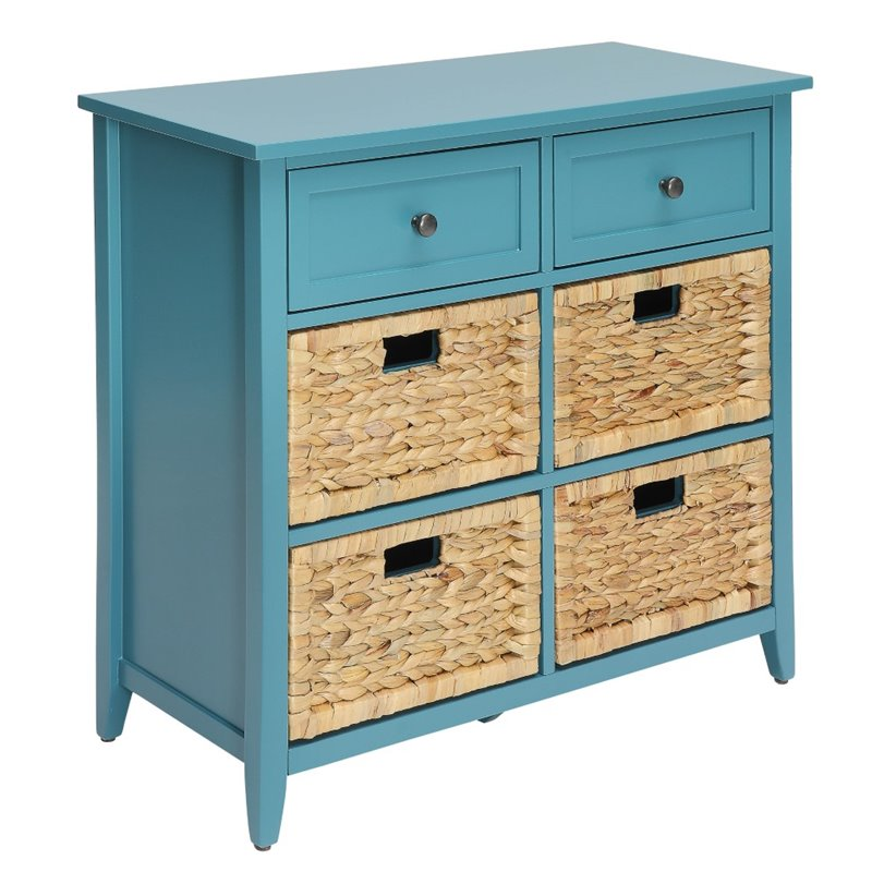Tan Wooden Console Table With 6 Drawers in Teal BH97418