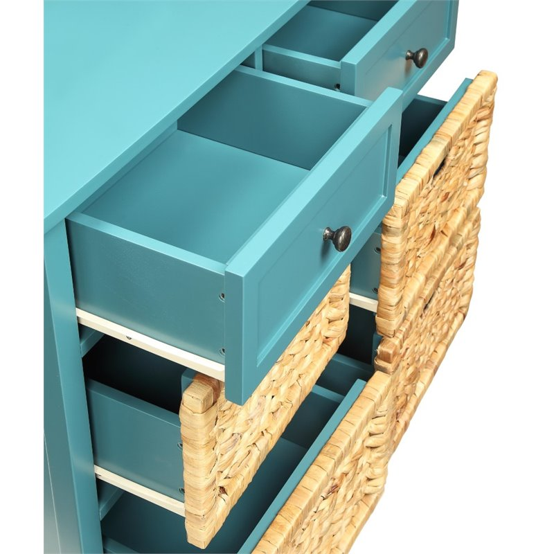 Cadet Blue Wooden Console Table With 6 Drawers in Teal BH97418