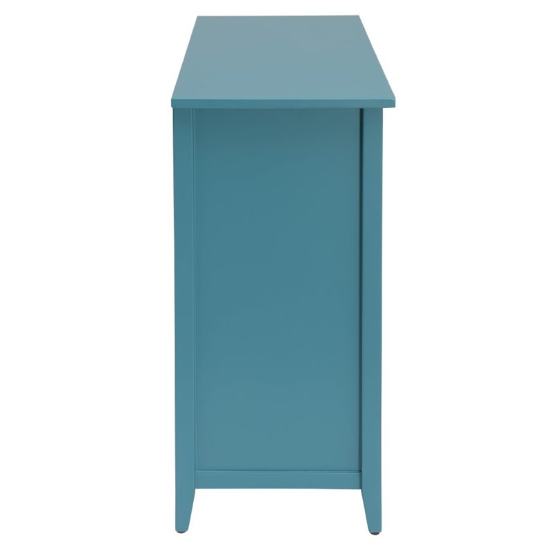 Steel Blue Wooden Console Table With 6 Drawers in Teal BH97418