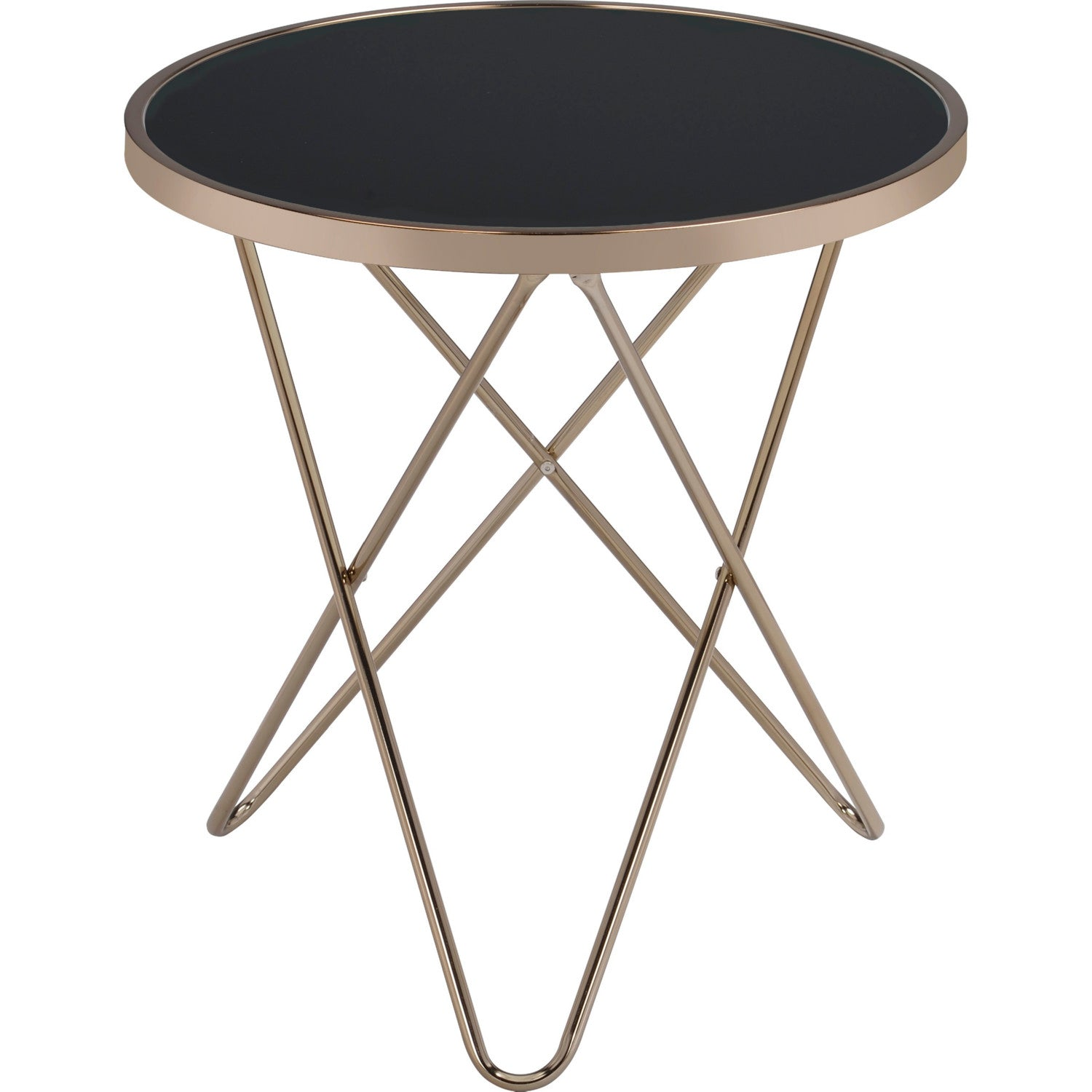 Round End Table Side Table Bedroom Nightstand Metal Base In Champagne & Black Glass