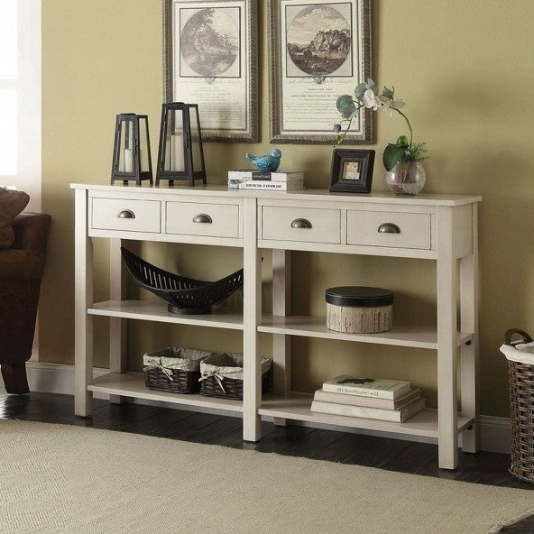 Console Table With Four Drawers and Two Bottom Shelf in Cream