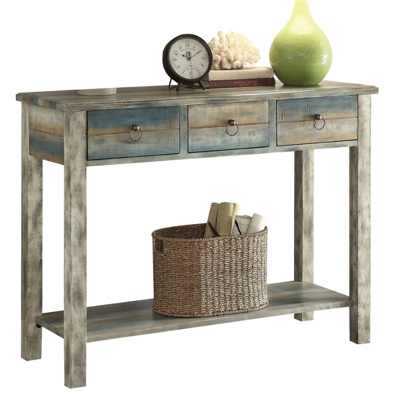 Dark Olive Green Rectangular Console Table With Drawers & Shelf in Antique White & Teal BH97257