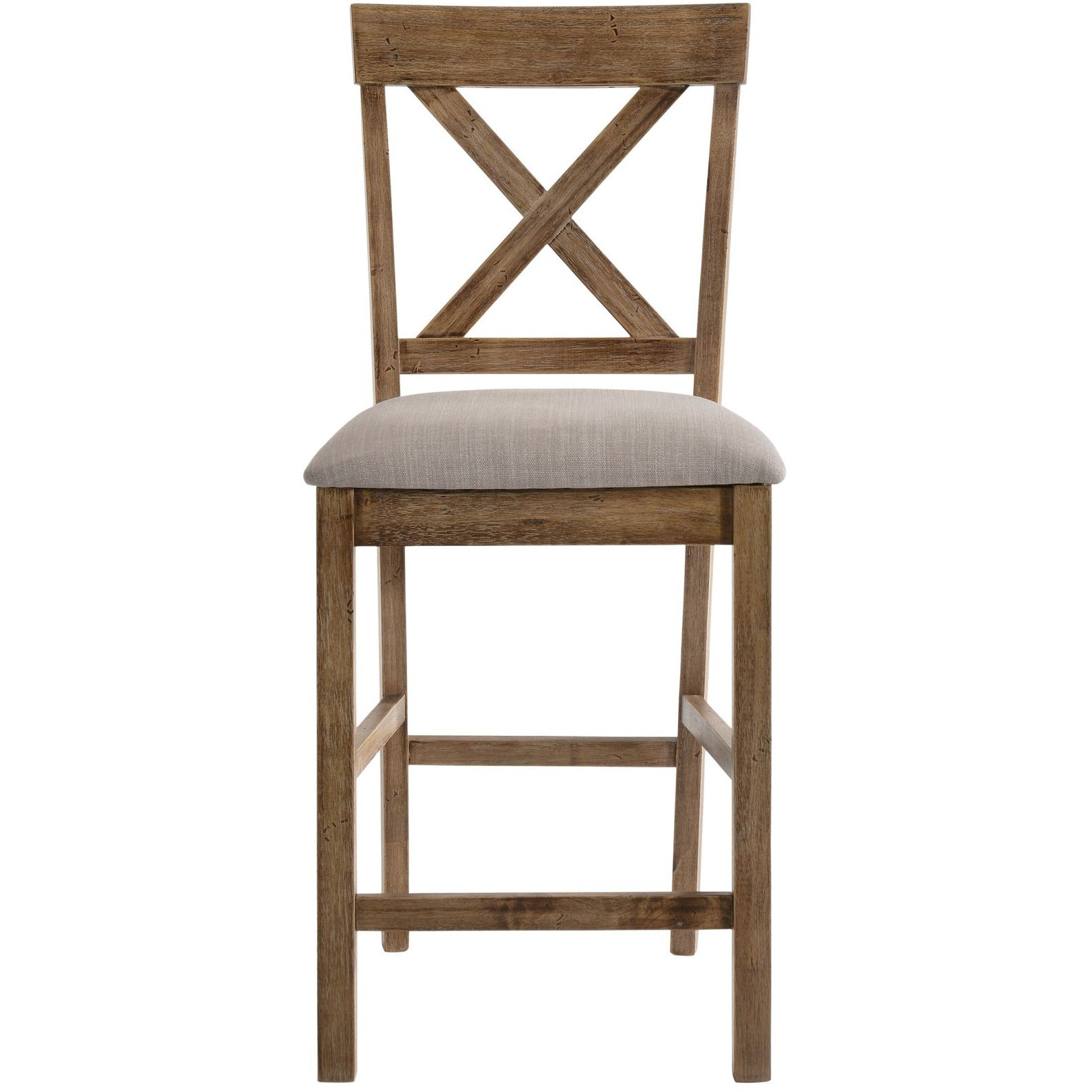 X-Shaped Back Counter Height Chair in Tan Linen & Weathered Oak - Set Of 2