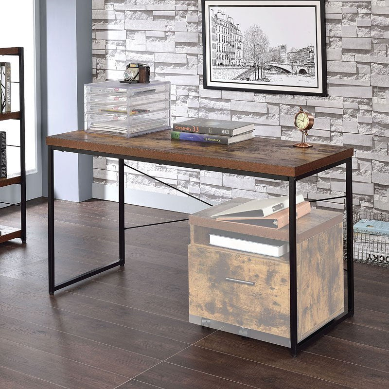 Wooden Top Desk in Weathered Oak & Black BH92396