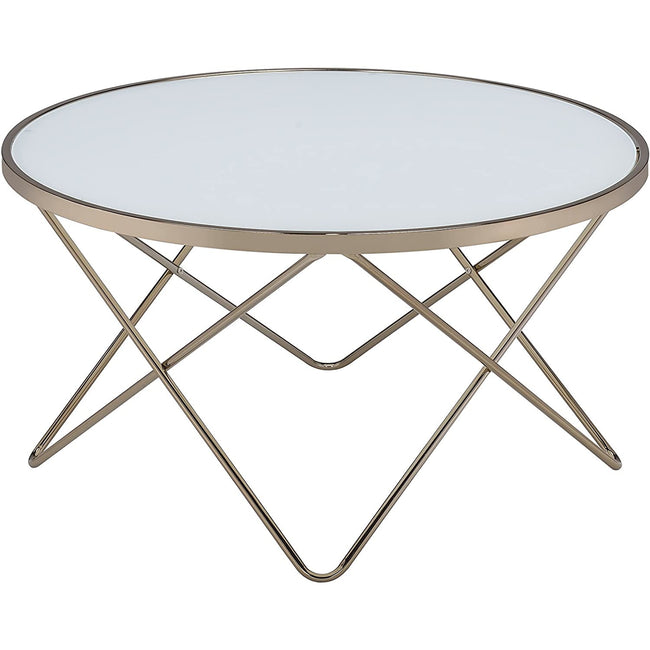 Round Top Coffee Table Overlapped V-Shape Metal Base in Champagne & Frosted Glass BH81825