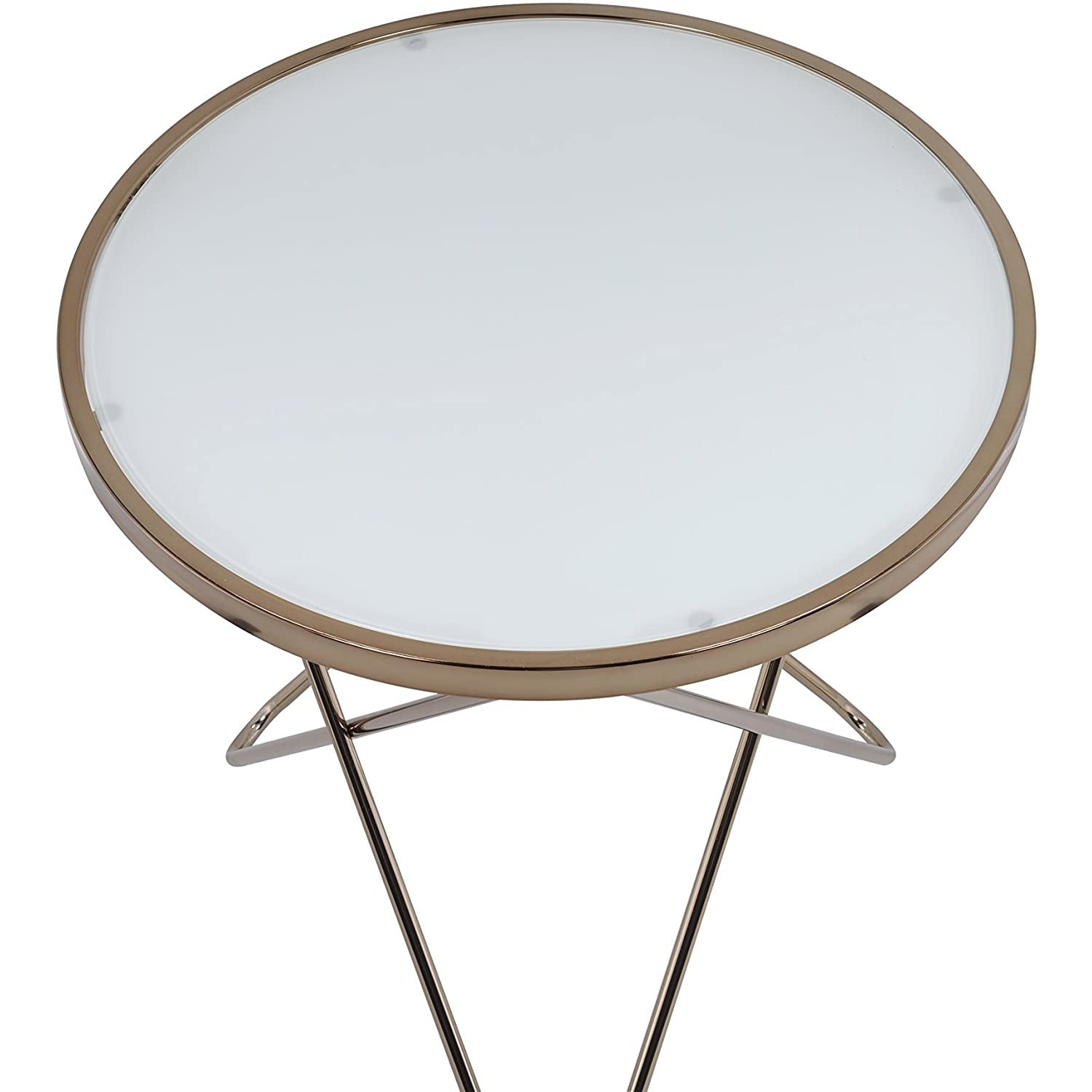 Lavender Round Top Coffee Table Overlapped V-Shape Metal Base BH81825 BH81830