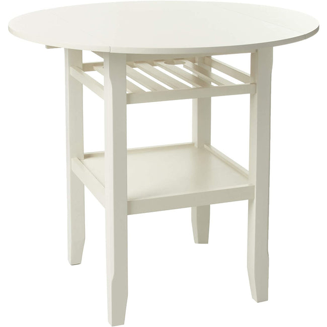 Round Top Wooden Counter Height Table w/2 Drop Leaves & Open Compartment in Cream BH72545