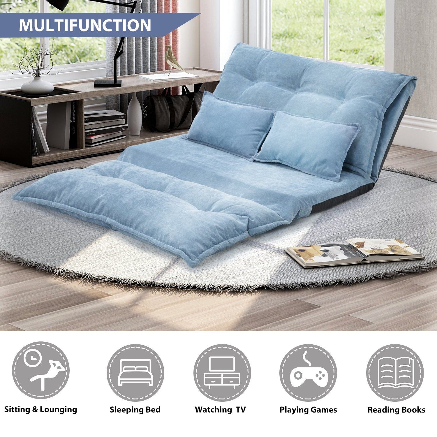 Light Steel Blue Floor Chair Adjustable Sofa Bed Lounge Floor Mattress Lazy Man Couch with Two Pillows BH194102 BH008064