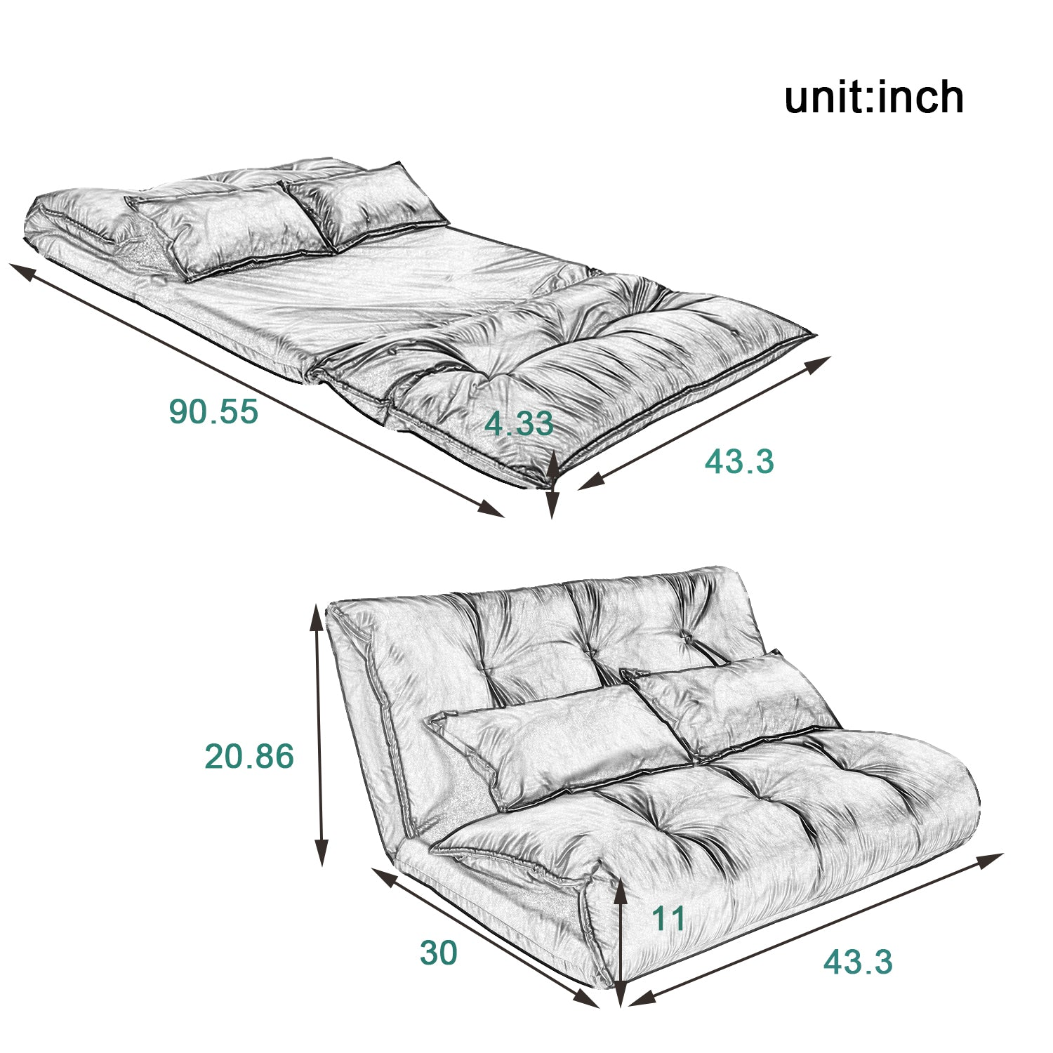 Lavender Floor Chair Adjustable Sofa Bed Lounge Floor Mattress Lazy Man Couch with Two Pillows BH194102 BH008064