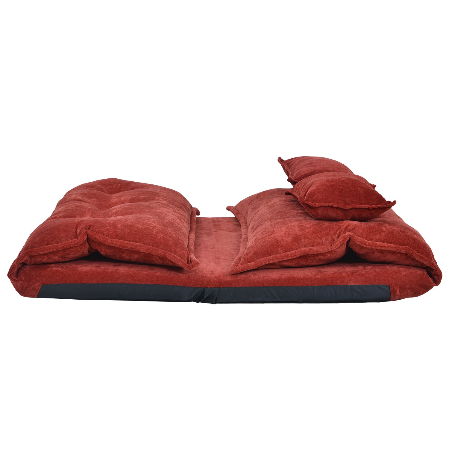 Maroon Floor Chair Adjustable Sofa Bed Lounge Floor Mattress Lazy Man Couch with Two Pillows BH194102 BH008064