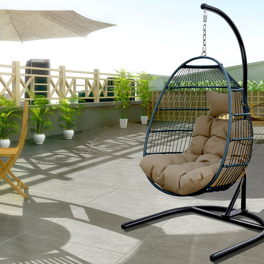 Outdoor Patio Hanging Basket Single Seat Swing Chair Classic Egg Chair with Cushion and Stand BH302S00022