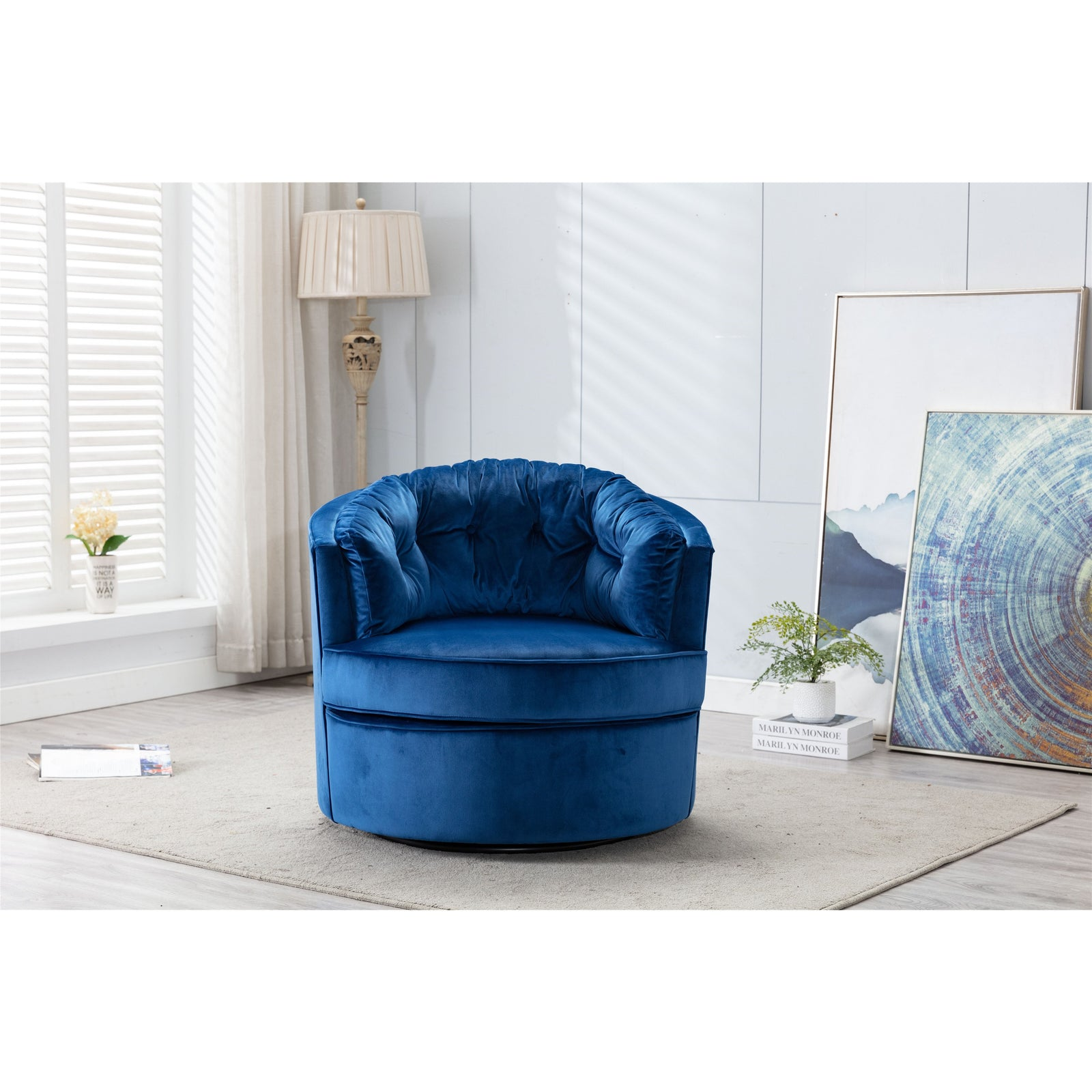 Midnight Blue Modern Swivel Accent Chair Barrel Chair Leisure Chair for Living Room BH3951828