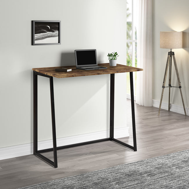 Folding Computer Desk with Industrial Style Folding Laptop Table for Small Space Offices, No-Assembly Small Computer Desk, Brown Desktop Black Frame