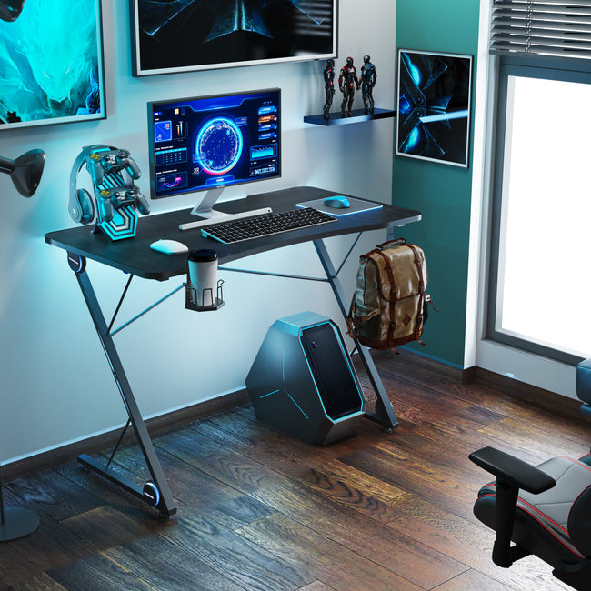 Light Steel Blue Gaming Desk with Headphone Holder + Cup Holder + Game Handles Holder BH44116793
