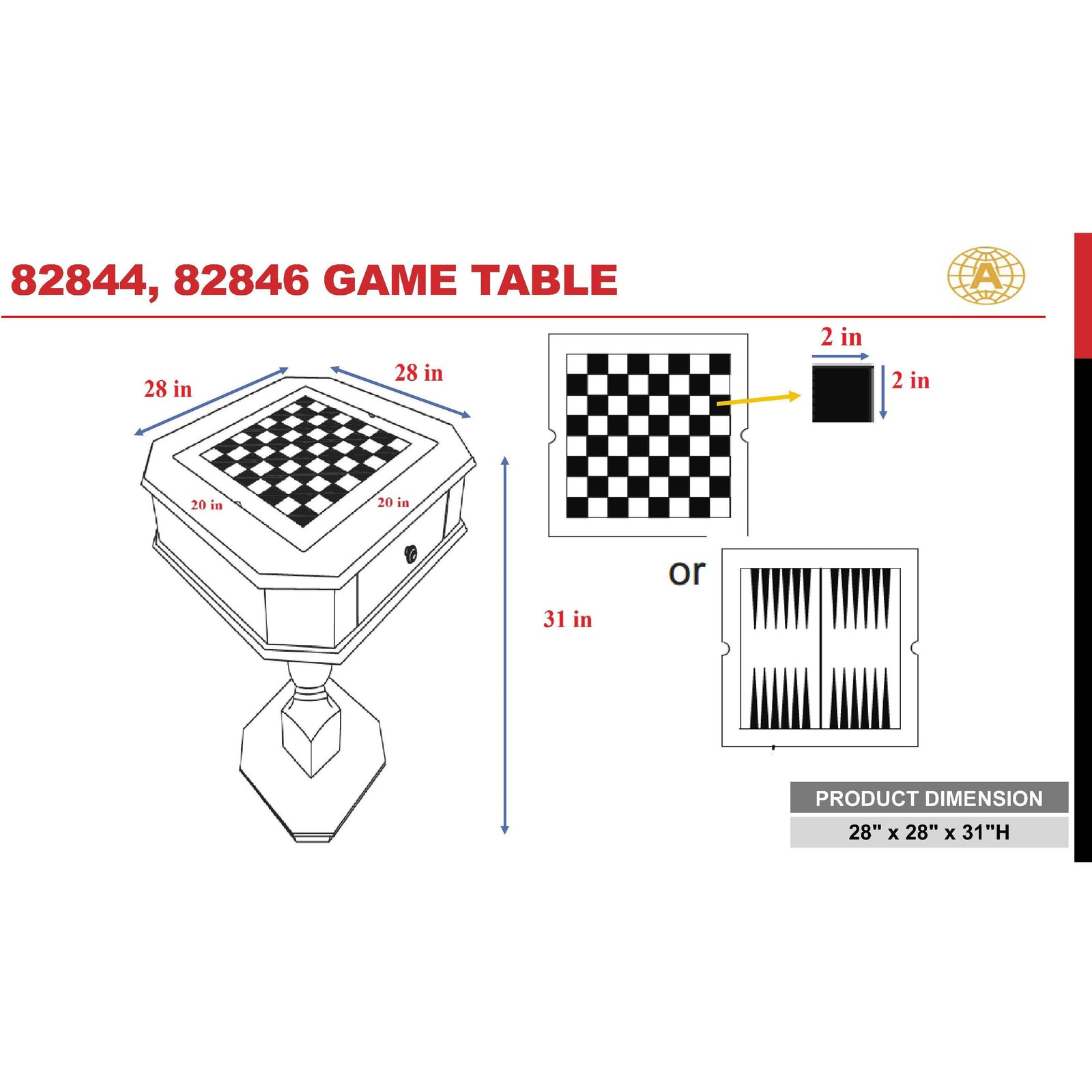 White Smoke Game Table Reversible Game Tray 3-in-1 Chess, Checker, & Backgammon BH82846 BH82844