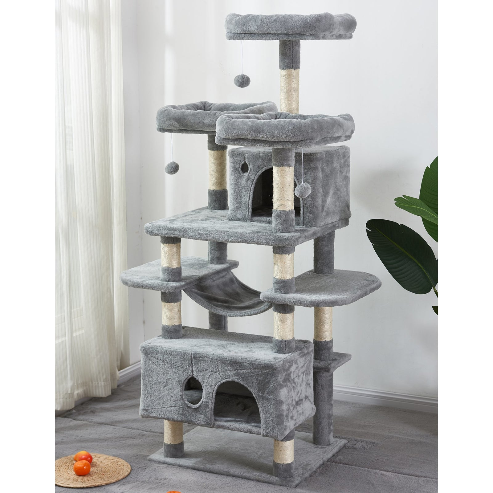 Gray Large Cat Tree Condo with Sisal Scratching Posts Perches Houses Hammock, Cat Tower Furniture Kitty Activity Center Kitten Play House Gray W46918552