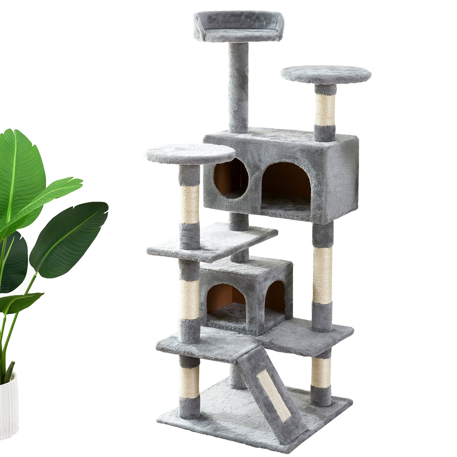 "51"" Multi-Level Cat Tree Tower Cat Apartment with Scratching Posts Kittens Activity Tower Pet Play House Furniture 46919747 46918553"