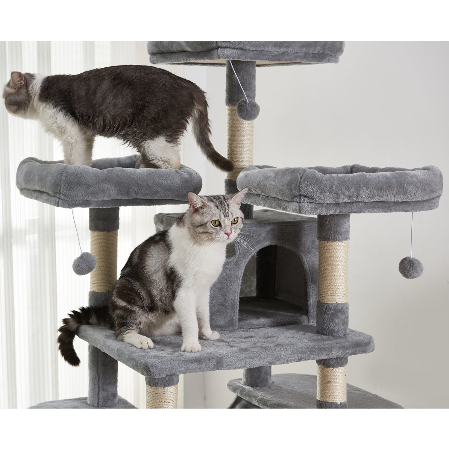 Dim Gray Large Cat Tree Condo with Sisal Scratching Posts Perches Houses Hammock, Cat Tower Furniture Kitty Activity Center Kitten Play House Gray W46918552