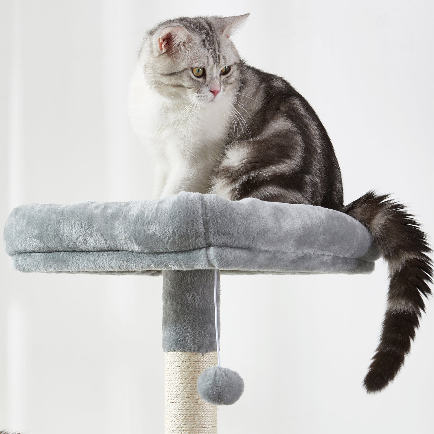 Large Cat Tree Condo with Sisal Scratching Posts Perches Houses Hammock, Cat Tower Furniture Kitty Activity Center Kitten Play House Gray W46918552