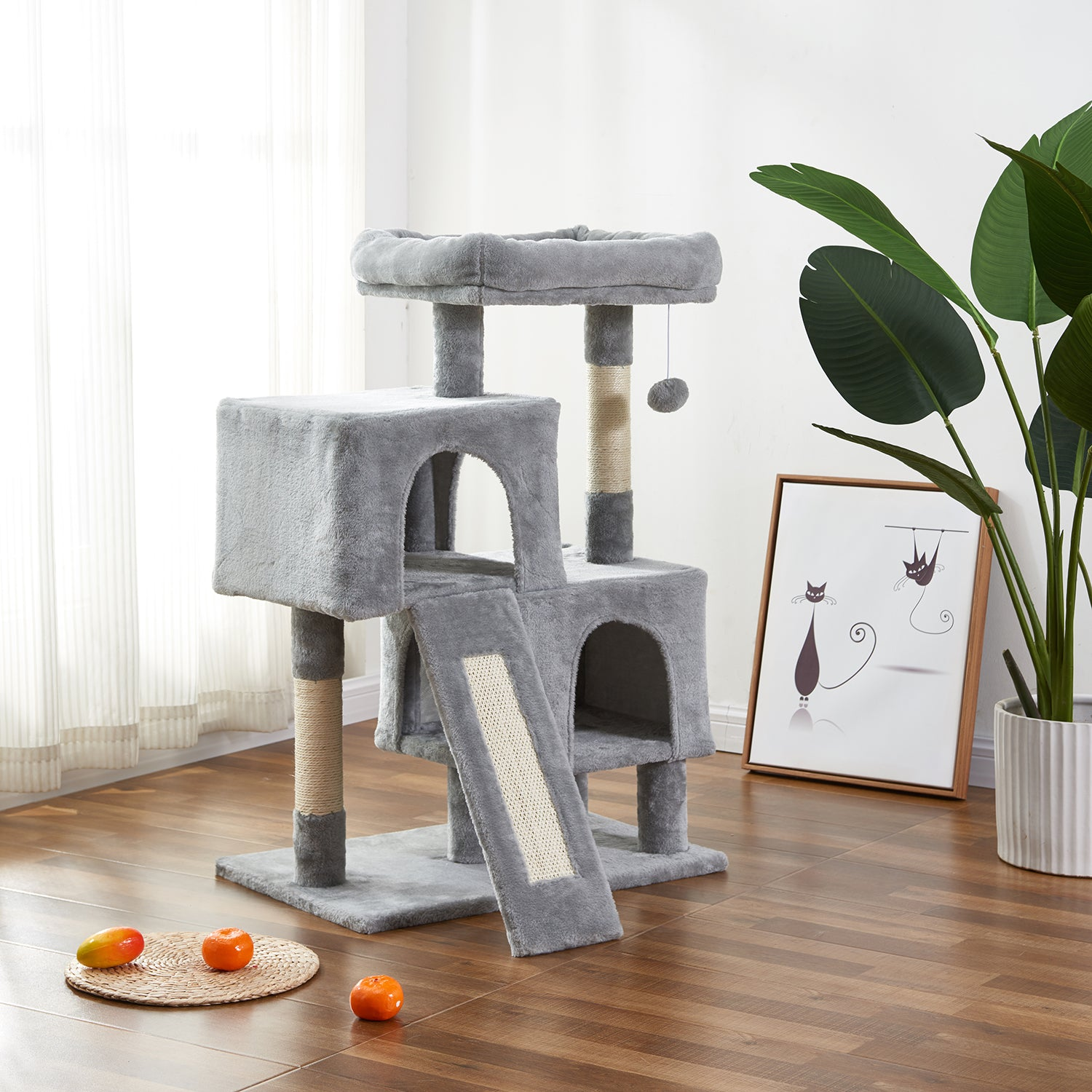 Cat Tree Apartment with Sisal Grab Bar, Grab Board, Plush and Double Room