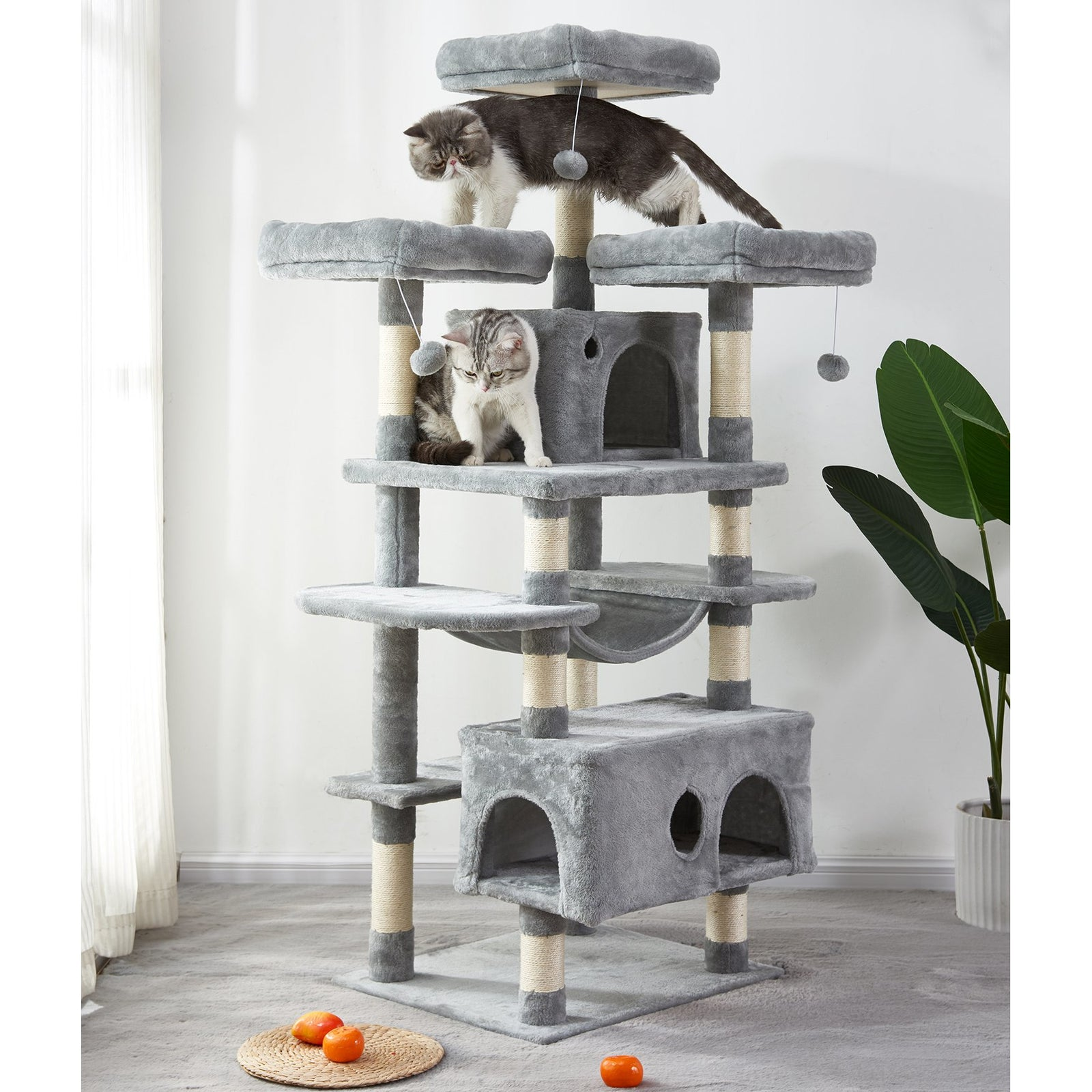 Beige Large Cat Tree Condo with Sisal Scratching Posts Perches Houses Hammock, Cat Tower Furniture Kitty Activity Center Kitten Play House Gray W46918552