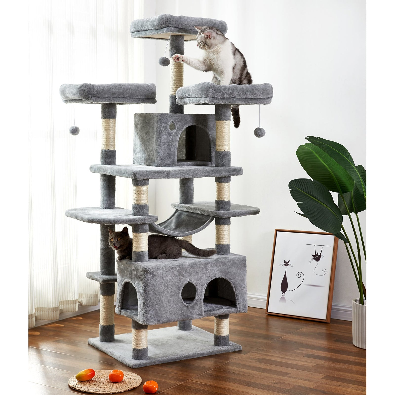 White Smoke Large Cat Tree Condo with Sisal Scratching Posts Perches Houses Hammock, Cat Tower Furniture Kitty Activity Center Kitten Play House Gray W46918552