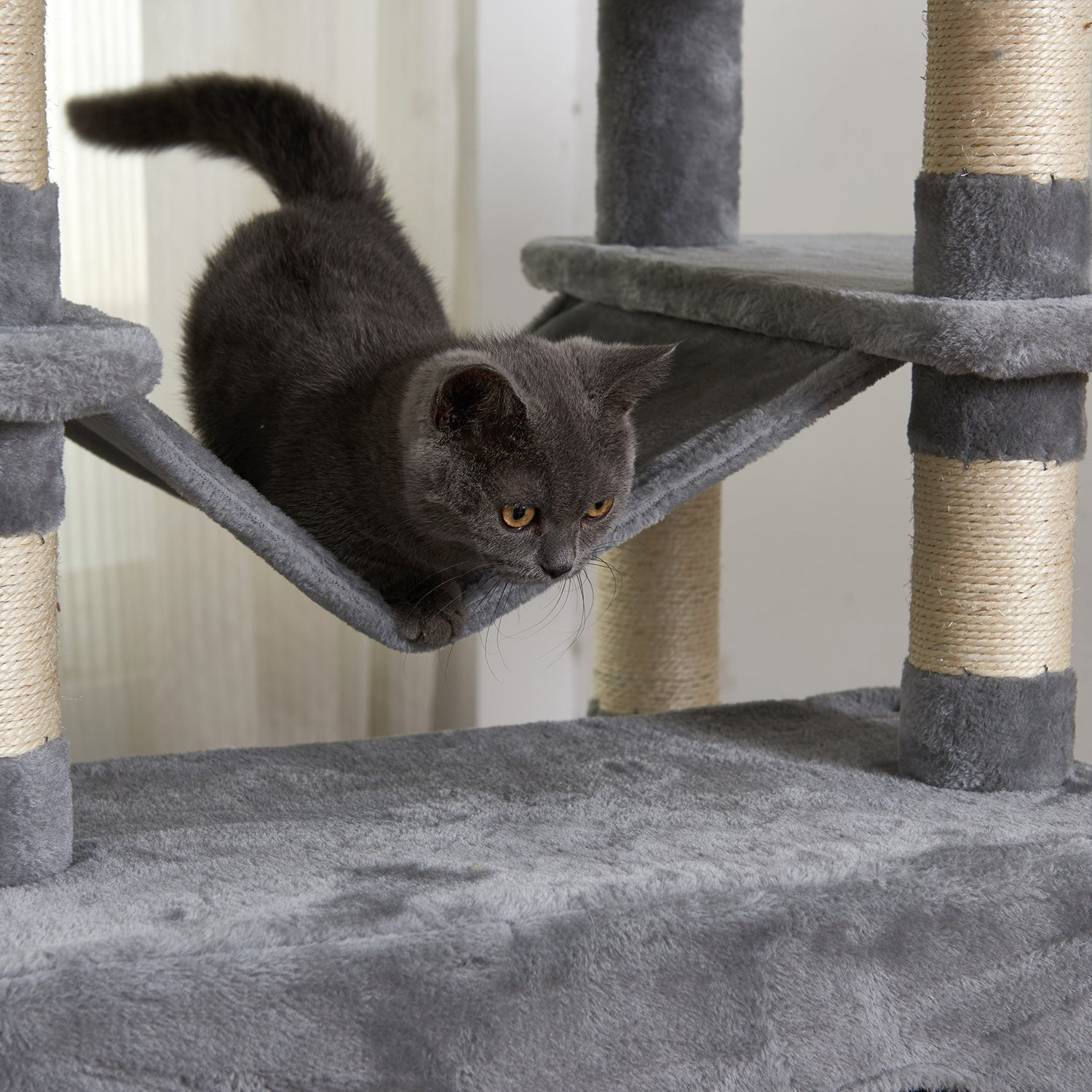 Dark Slate Gray Large Cat Tree Condo with Sisal Scratching Posts Perches Houses Hammock, Cat Tower Furniture Kitty Activity Center Kitten Play House Gray W46918552