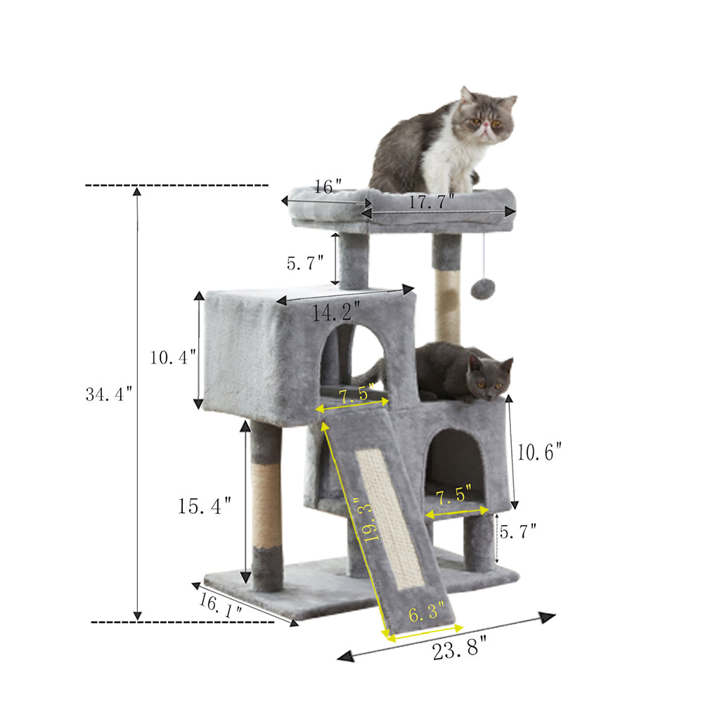 Cat Tree Apartment with Sisal Grab Bar, Grab Board, Plush and Double Room - Size