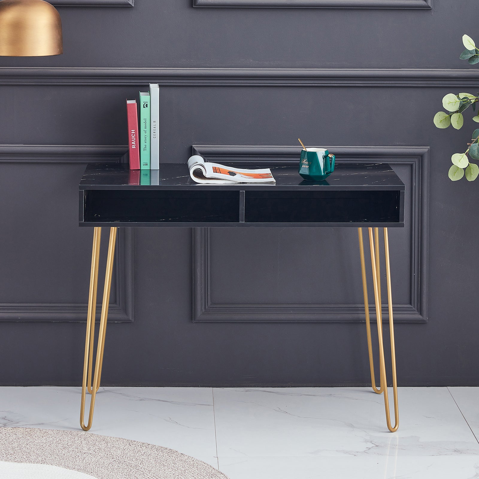 Beauty Table Side End Table Modern Marble MDF Top With Sturdy Gold Metal Legs Black