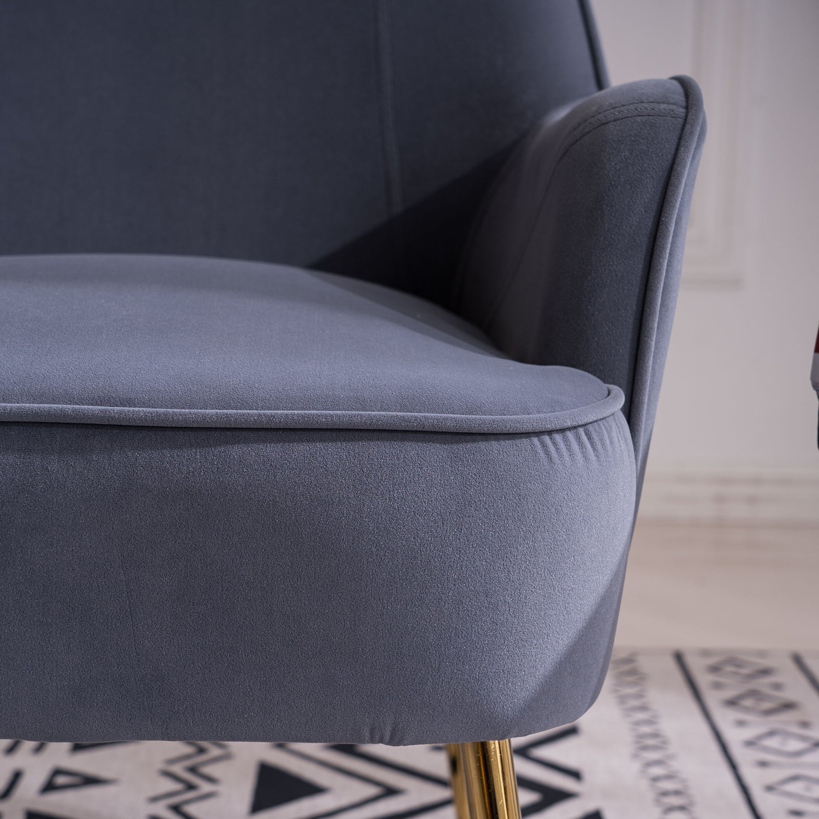 Slate Gray Velvet Accent Chair With Gold Metal Legs BH5272484