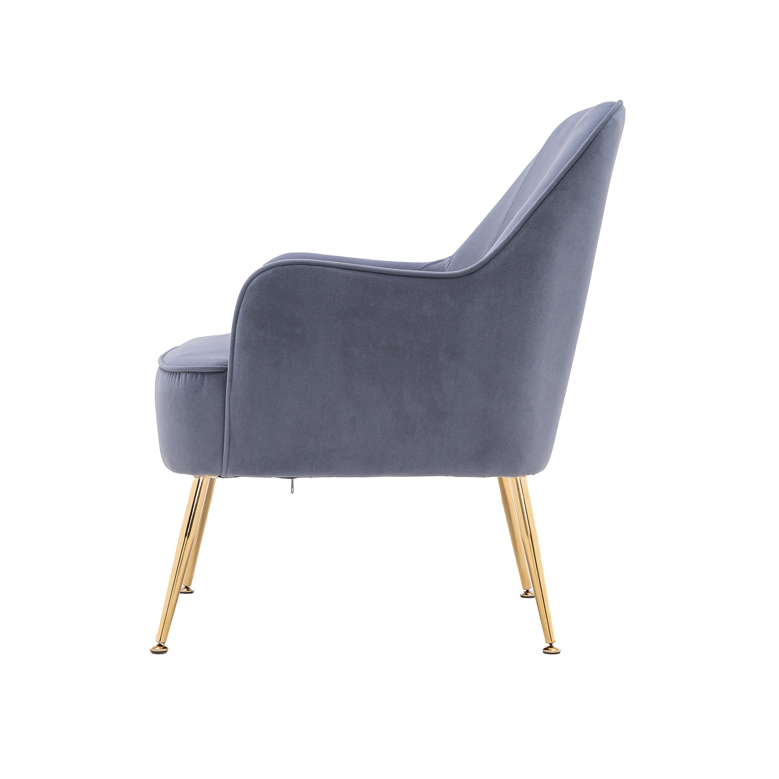 Dim Gray Velvet Accent Chair With Gold Metal Legs BH5272484 BHW5272815