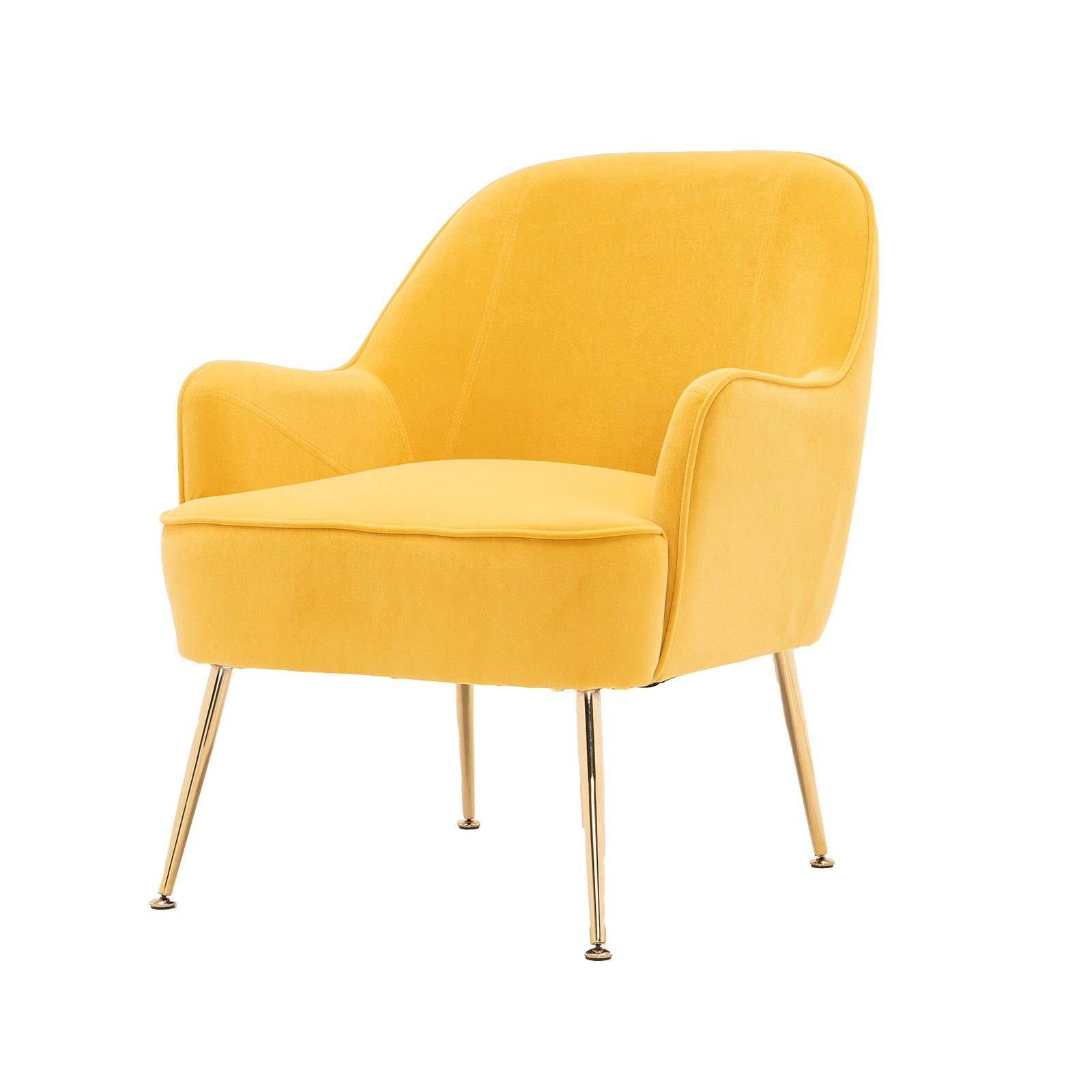 Goldenrod Velvet Accent Chair With Gold Metal Legs BH5272484